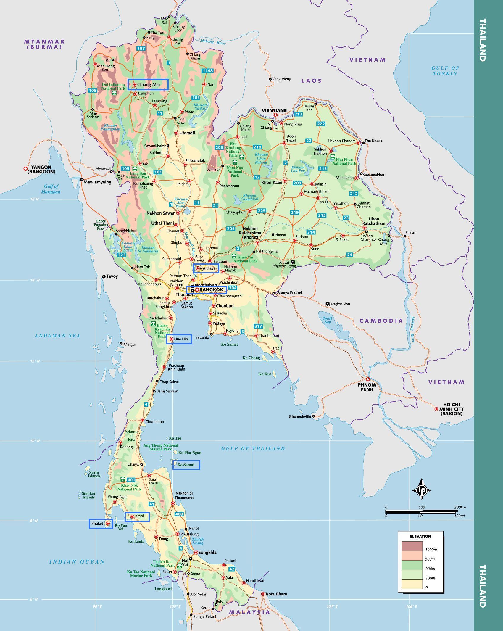 Carte Thailande Lonely Planet.Top 6 Destinations