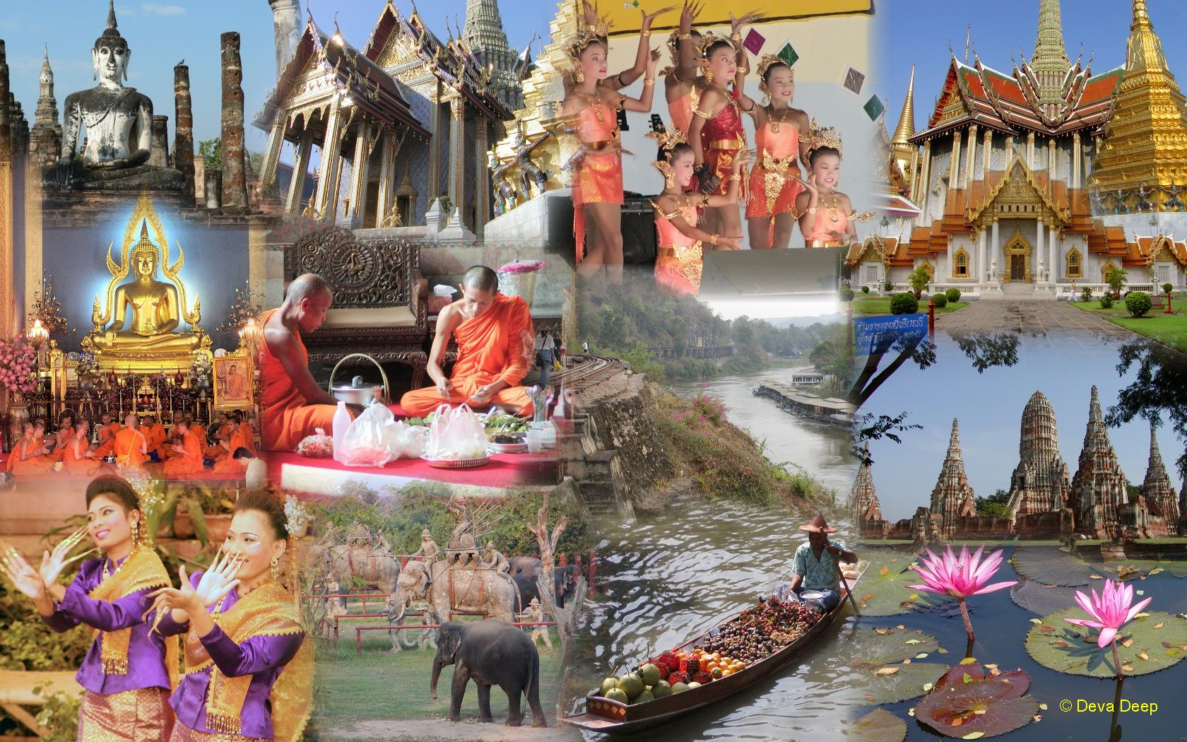 Wallpaper Of Pictures Central Thailand Photo Collage 1680x1050